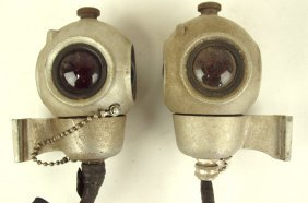 "Railroad Pair Of Cast Aluminum Signal Lights, 6""h"