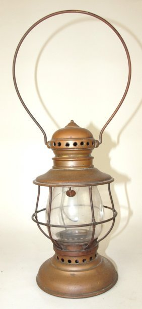 Nickle Over Brass Railroad Presentation Lantern, Clear