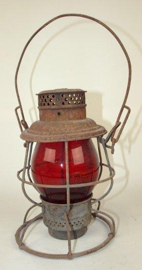Adlake Railroad Lantern With Tall Red Globe Both
