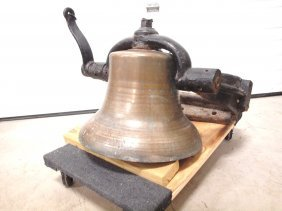 "Brass Steam Locomotive Train Engine Bell, 17""d, With"
