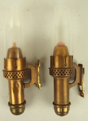 Pair Of Brass Railroad Caboose Candle Sconce Lights 10