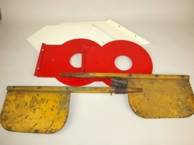 Lot Of Railroad Metal Flags And Crossing Arm Parts