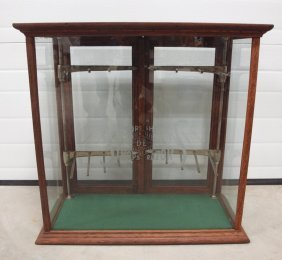 Oak Country General Store Scissor Display Case, Etched