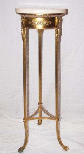 """Brass Fern Stand With Marble Top 12""""d, 40""""h"""