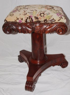 Victorian Organ Stool With Curved Base