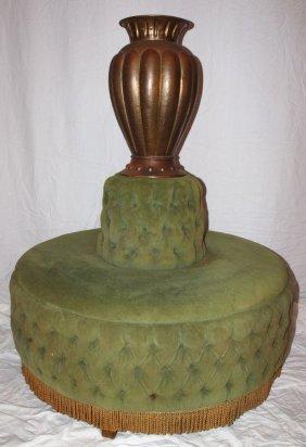 """Round Tete-a-tete Sofa With Brass Vase, 51""""h, 41""""d"""
