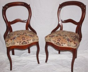 Pair Of Walnut Victorian Ladies Parlor Chairs