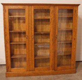 "Oak Triple Door Bookcase With Wooden Shelves 76""w,"