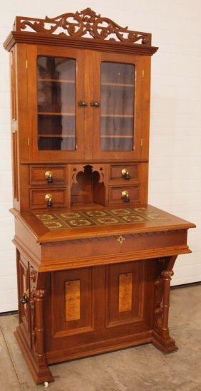 Walnut Victorian Sofa Desk Bookcase Secretary With