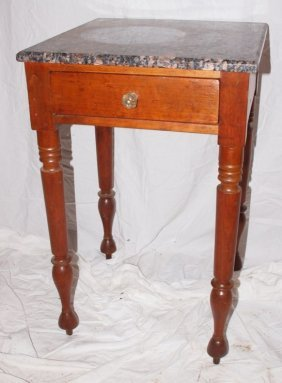 Cherry Single Drawer Bedside Table With Marble Top