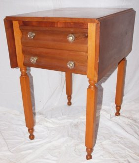 Cherry Double Drawer Drop Leaf Bedside Table