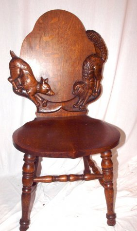 """Oak Side Chair Quarter Sawn With Carved Dog And Ca 38"""""""