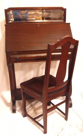 Mahogany Empire Style Drop Front Ladies Desk With