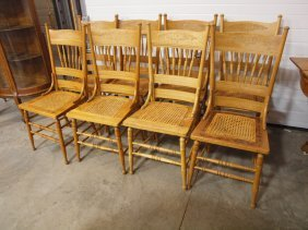 Set Of 8 Oak Print Back Cane Seat Dining Chairs