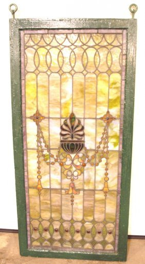 "Stained Leaded Window With Jewels, 54""x26"", Missing 2"