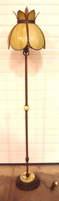 Brass & Alabaster Floor Lamp With Panel Glass Shade