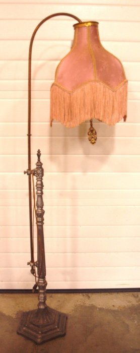 Brass & Iron Floor Lamp With Cloth Shade With Fringe