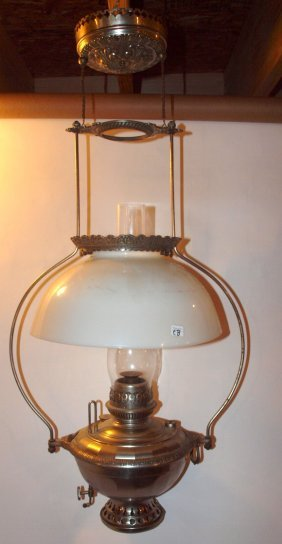 Bradley & Hubbard Nickle Hanging Lamp With Milk Glass