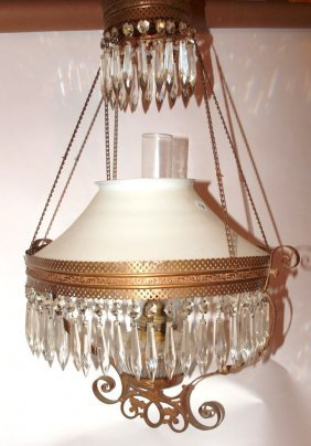 Brass Kitchen Pull Down Lamp With Milk Glass Shade