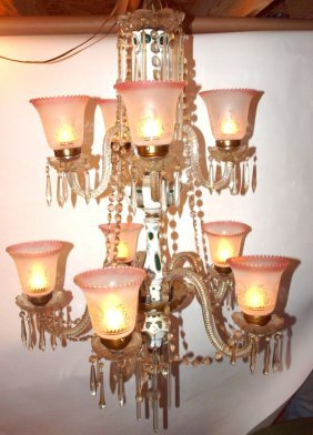 Bohemian White Cut To Green Hanging Chandelier 9 Light