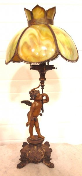 Figural Banquet Lamp With Cherub And Panel Glass Shade,