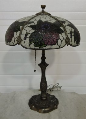 Table Lamp With Reverse Painted Panel Glass Shade With