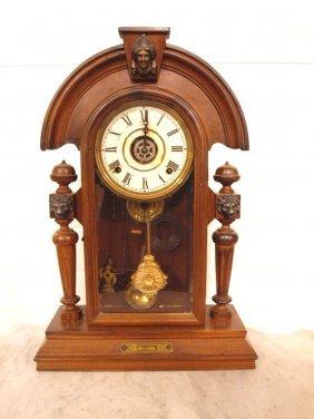 Walnut Shelf Clock With Lady, Missing Finial