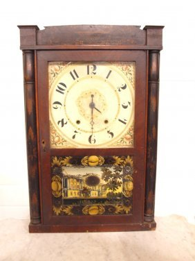 Seth Thomas Eight Day Weight Clock, Top Glass Cracked