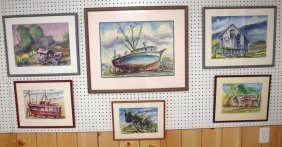 "Epstein Lot Of 6 Watercolors, Dated 1989-92, 20"" X 15"","