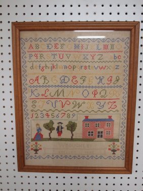 Sampler With School House, Boy, Girl, Letters, And