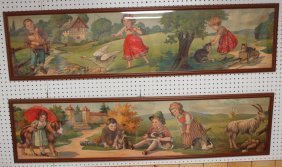 """Pair Of Prints Of Children With Animals, 60"""" X 15"""""""