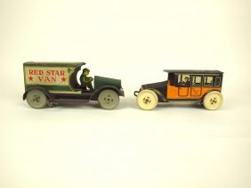 Strauss Red Star Van And Mohawk Yellow Taxi Tin