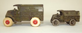 "Cast Iron Bell Telephone Lot Of 2 Trucks, 5 1/2"" & 4"""