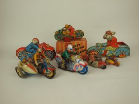 Lot Of 7 Assorted Tin Lithograph Motorcycle Toys