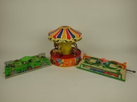 Tin Lithograph Merry-go-round And 2 Windup Toys: Cars &