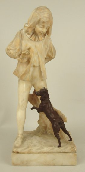 German Kochendorfer Marble Statue Of Boy With Bronze