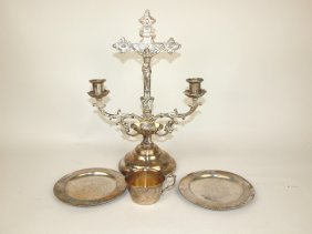 Spelter Religious Candle Holder, 2 Plates And Cup In