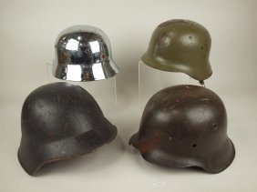 Lot Of 4 Wwii Metal Helmets