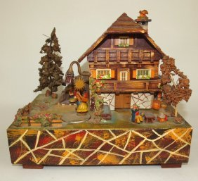 Early Swiss Cottage Mechanical Music Box With Moving