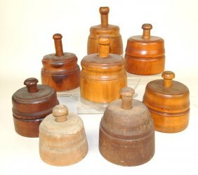 Lot Of 8 Wood Butter Pats, Some Dated 1866