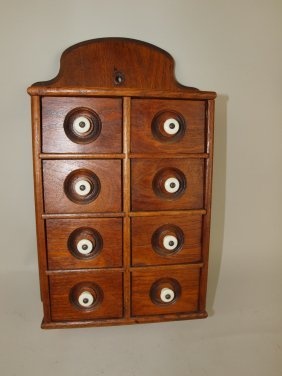 Wooden Wall Hanging 8 Drawer Spice Cabinet