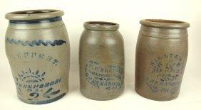 "Lot Of 3 Salt Glaze Stoneware Crock Jars ""reppert-"