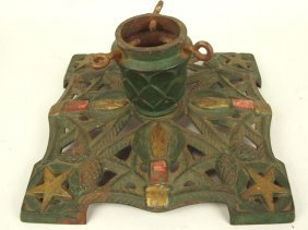 Cast Iron Christmas Tree Stand With Candles, Stars, And