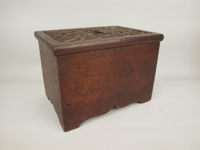 "Walnut Step Stool With Carved Lid With Cattails, 13"" W,"