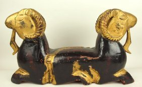 """Wooden Carved Two Headed Goat, 22"""" W, 13"""" H"""