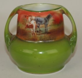 "Royal Bayreuth Cows, Vase, 3"" 20"