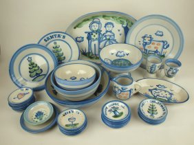 M.a. Hadley Lot Of 38 Pieces Of Stoneware