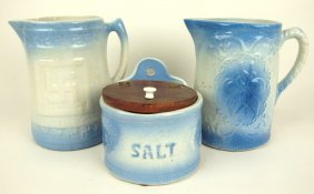 "Blue & White Stoneware Lot Of 2 Pitchers: ""good Luck"""