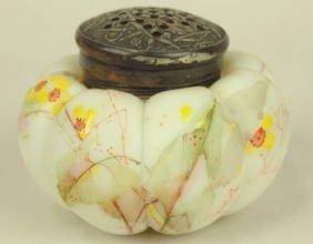 Mt. Washington Satin Glass Muffineer, Floral Motif