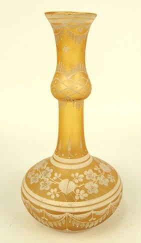 Lace-de-bohema Cameo Bohemian Art Glass Bud Vase, Circa